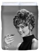 Woman Drinking Champagne, C.1960s Duvet Cover