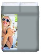 Woman Drinking Sangria Duvet Cover