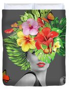 Woman Floral  Duvet Cover