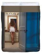 Woman In A Bathroom Duvet Cover