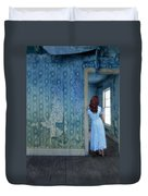 Woman In Abandoned House Duvet Cover by Jill Battaglia