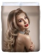 Woman In Big Curls Hollywood Glam Look Duvet Cover