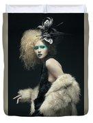 Woman In Black Avant-garde Attire With Butterfly Headdress Duvet Cover