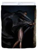 Woman In Black Flying Outfit Duvet Cover