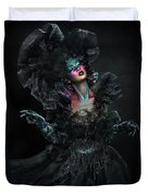 Woman In Black Gown And Headdress In Body Paint Duvet Cover