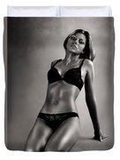 Woman In Black Lingerie Duvet Cover