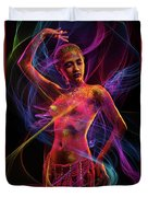 Woman In Colorful Body Paint With Light Streaks Duvet Cover