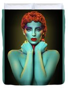 Woman In Cyan Body Paint With Curly Hairstyle Duvet Cover