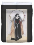 Woman In Evening Clothes And Cape Duvet Cover
