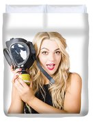 Woman In Fear Holding Gas Mask On White Background Duvet Cover by Jorgo Photography - Wall Art Gallery
