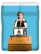 Woman  In Front Of Tv Camera Duvet Cover by Jorgo Photography - Wall Art Gallery