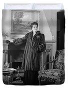 Woman In Fur Coat, C.1940s Duvet Cover