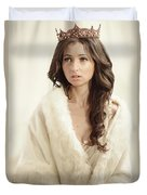 Woman In Fur Wrap Wearing Crown Duvet Cover