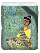 Woman In Grey And Yellow Sari Under Tree Duvet Cover