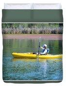 Woman In Kayak Duvet Cover