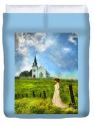 Woman In Lace By A Country Church Duvet Cover