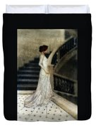 Woman In Lace Gown On Staircase Duvet Cover