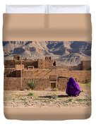 Woman In Purple Duvet Cover