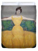 Woman In A Yellow Dress Duvet Cover