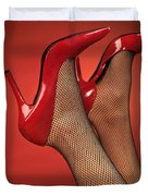 Woman In Red High Heel Shoes Duvet Cover