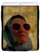 Woman In Scarf And Sunglasses Duvet Cover