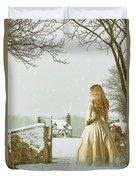 Woman In Snow Scene Duvet Cover