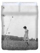 Woman In Summer Meadow, C.1970s Duvet Cover