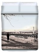 Woman In The Snow Duvet Cover
