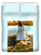 Woman In Victorian Dress By Water Duvet Cover