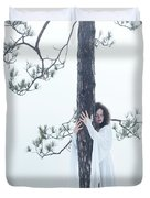 Woman In White Dress Hugging A Tree Duvet Cover