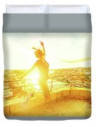 Woman Jumping At Oporto Duvet Cover