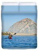 Woman Kayaking In Morro Bay Duvet Cover by Bill Brennan - Printscapes