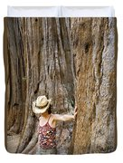 Woman Leaning On Giant Sequoia Tree Duvet Cover