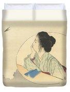 Woman Looking At A Bird Duvet Cover