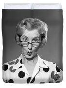 Woman Looking Over Her Glasses Duvet Cover