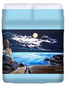 Woman On A Cliff And The Beautiful See Duvet Cover