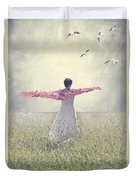 Woman On A Lawn Duvet Cover