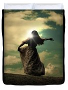 Woman On A Meadow Duvet Cover