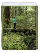 Woman On A Moss Covered Log In Olympic National Park Duvet Cover