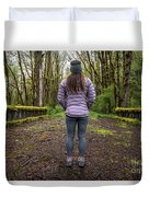 Woman On An Old Moss Covered Bridge In Olympic National Park Duvet Cover
