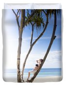 Woman On Holiday Duvet Cover