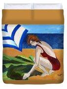 Woman On The Beach Duvet Cover