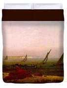 Woman On The Beach Of Rugen  Duvet Cover