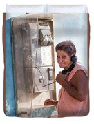 Woman On The Phone Duvet Cover
