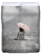 Woman On The Street Duvet Cover