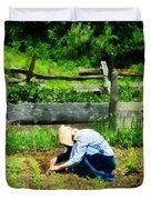 Woman Planting Garden Duvet Cover