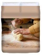 Woman Preparing Dough For Kopytka Duvet Cover