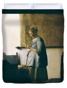 Woman Reading A Letter Duvet Cover by Jan Vermeer