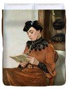 Woman Reading Duvet Cover by Felix Edouard Vallotton