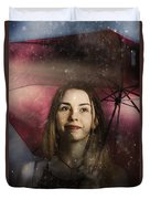 Woman Resilient In Storm Through Positive Thinking Duvet Cover